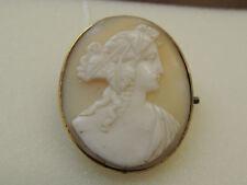 Broche ancienne or 18 carats et camée -tête de femme-
