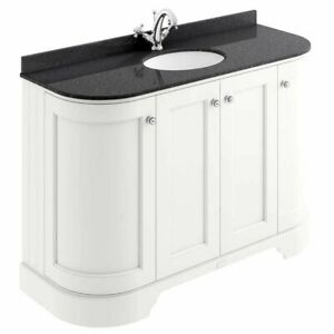 Bayswater Pointing White 4-Door Curved Vanity Unit 1200mm Wide (Excluding Basin)