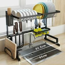 Upgrade Stainless Steel Dish Rack Over The Sink Dish Drying Rack Holder 65cm US