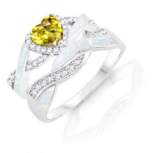 Yellow Topaz Heart Infinity Celtic White Opal w CZ Engagement Silver Ring Set