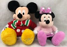 "Genuine Disney Store Mickey Mouse 18"" Winter Coat Scarf & Minnie 15"" Gift Prize"