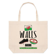 Rugby Wales Large Beach Tote Bag - Funny League Union Flag Shopper Shoulder