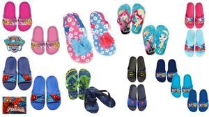 Kids Girls Boys Paw Patrol, Spiderman, Frozen Flip Flops Slip On Shoes Footwear
