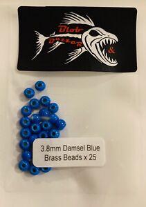 25 X 3.8mm Damsel Blue Brass Beads