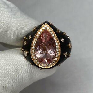 Chopard Custom Made Unique Morganite & Diamond 18k Yellow Gold Black Resin Ring