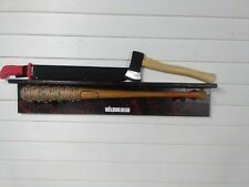 THE WALKING DEAD NEGAN LUCILLE  BAT  Ricks Grimes axe & red handle machete shelf