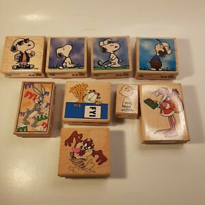 Large Lot Of Wood Mount Rubber Stamps Bugs Bunny Peanuts Charlie Brown Garfield