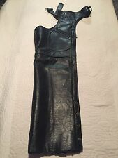 Unisex XS Black Genuine Leather Motorcycle Chaps by Manzoor Excellent Condition!