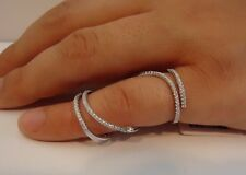SPIRAL FULL FINGER  RING W/ 2 CT LAB DIAMONDS / 925 STERLING SILVER / 6-9