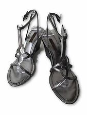 LOUIS VUITTON GUNMETAL MONOGRAM WEDGE SANDALS, 37.5, $795