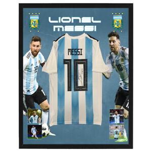 LIONEL MESSI SIGNED AND FRAMED ARGENTINA SOCCER JERSEY MARADONA DI MARIA CAVANI