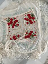 "MANTON de MANILA PIANO SHAWL Silk Embroidered Large 50""x50"" (plus fringe 25"")"