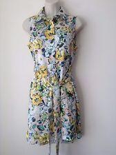 Fashion Union Floral Sleeveless Shirt Dress Size 8UK