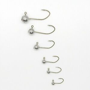 50 PK Round Jig Heads Various Sizes with Bronze Sickle or Straight Hook