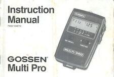Gossen Multi Pro Instruction Manual Original