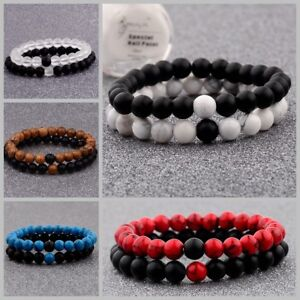 Distance Bracelets Lovers Couples Matching Gift Matte Agate 8mm Bead Stone Gift