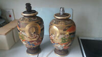 2 X VINTAGE - SIGNED JAPANESE SATSUMA HAND PAINTED VASES - LAMPS  - SIGNED