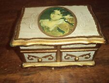VIntage Italian FLorentine Shabby Chic Wood Gilt Tole Jewelry Music box WORKS