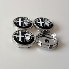 4pcs Black Alfa Romeo ALU 60mm rim cover emblem 156 147 159 Mito Giulietta