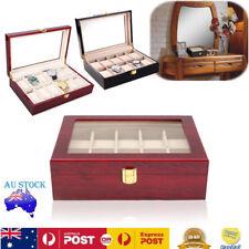 10 Grids Glass Wooden Watch Jewelry Display Case Organizer Storage Holder Box