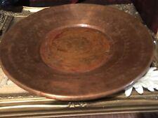 "Antique Vintage Copper Round Tray Platter, Etched Design 15"" w/Hanging Hook"