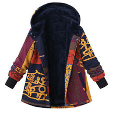 UK Womens Winter Floral Hooded Fluffy Coat Ladies Parka Jacket Outwear Overcoat