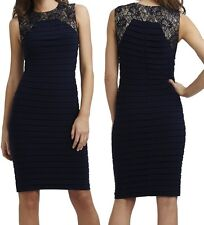 Adrianna Papell Navy Sleeveless Lace Frame Bandage Cocktail Dress, 6R - $160