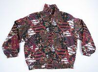 Vintage 80s 90s Multi Color Crown King Royalty Silk Full Zip Bomber Jacket L