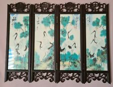 Asian Chinese Oriental Crane Barbie Doll Folding Screen Table Divider