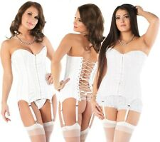 Coquette White Fully Boned Lace Over Bridal Satin Corset/Bustier/Basque