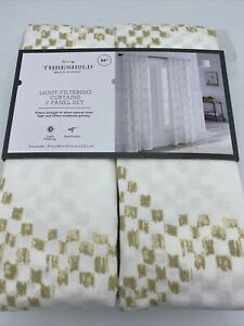 "Threshold Light Filtering Curtains 2 Panel Set 84"" x 40""Tan Kana Gold Rod Pocket"