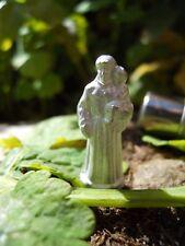 Ancienne petite statuette religieuse Saint miniature de voyage + étui