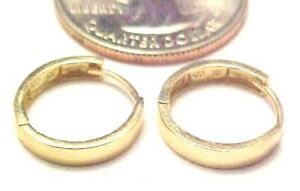 10kt Yellow Gold 13.5MM x 3MM Huggie Earrings-Square Edge-Gift Box-Free Shipping