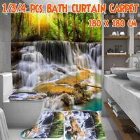 Waterfall Printing Bathroom Shower Curtain Toilet Cover Mat Non-Slip Rug Set