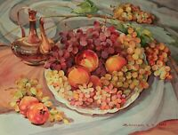 """Grape and Peach"" Original Water Color 13""x16.75"" Item #2250"