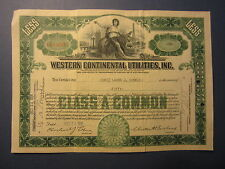 Old Vintage 1931 - WESTERN CONTINENTAL UTILITIES INC. - Stock Certificate