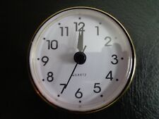 "2-3/4"" (70mm) QUARTZ CLOCK FIT-UP/Insert, Arabic Numeral, White Face, Gold Trim"