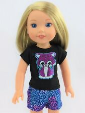 """Sparkle Kitty Shorts Set Fits Wellie Wishers 14.5"""" American Girl Clothes"""