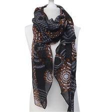 Großer Schal Langschal Damenschal schwarz weiss braun 900-01
