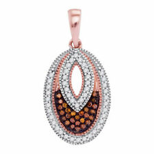 10kt Rose Gold Womens Round Red Color Enhanced Diamond Oval Pendant 1/5 Cttw