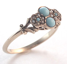Dainty Victorian Persian Turquoise & Pearl Ring Size 7