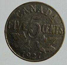 1927 Canada 5 cents coin Canada five cent beaver tail