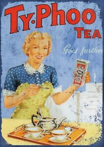 "TYPHOO TEA 7.5""x10.5"" VINTAGE STYLE METAL ADVERTISING SIGN WALL PLAQUE"