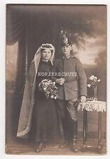 Altes Portrait Hochzeits Foto Soldat mit Tschako 1.WK