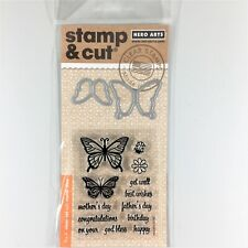 Hero Arts Stamp & Cut Butterfly Pair Clear Stamp Die Set Phrases Greetings