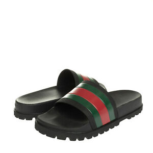 GUCCI Web Slide Sandals EU44 UK10 US10.5 Rubber Lug Sole Footbed Made in Italy