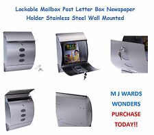 Lockable Mailbox Post Letter Box Newspaper Holder Stainless Steel Wall Mounted