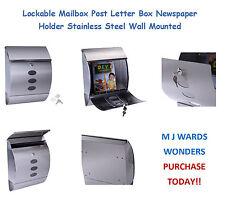 Verrouillable boîte aux lettres post boîte aux lettres journal support en acier inoxydable mural