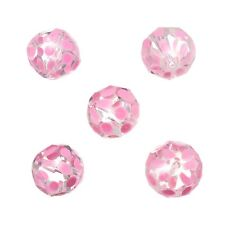 Hand Painted Pink Dotted 14mm Faceted Glass Beads Pack of 5 (A59/2)