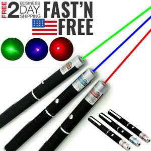 3 Packs Laser Pointer Pen Green Blue Red Light Visible Beam Lazer For office Pet